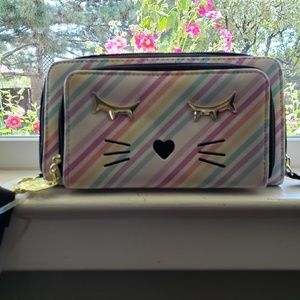Luv Betsey Striped Cat Face Wristlet